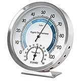 MAVORI® Thermometer Hygrometer innen analog - Temperaturmessgerät und Luftfeuchtigkeitsmessgerät innen aus hochwertigem Edelstahl für eine zuverlässige und komfortable Raumklima Kontrolle
